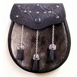 Dark Grey Seal Sporran with Chain Tassels