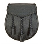 Black Lined Leather Sporran