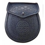 Black Leather Sporran, Celtic Embossed
