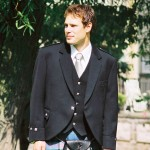 Argyll/Day Jacket and Separate Vest, Black Barathea
